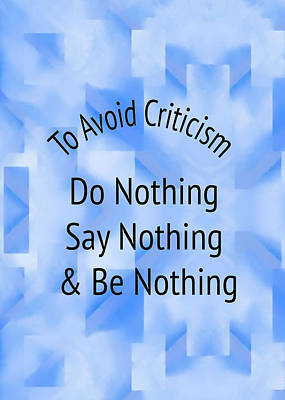 To Avoid Criticism 5458.02 Print by M K  Miller