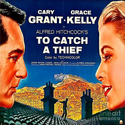 Grace Kelly Digital Art - To Catch A Thief Vintage Movie Poster by Spencer McKain