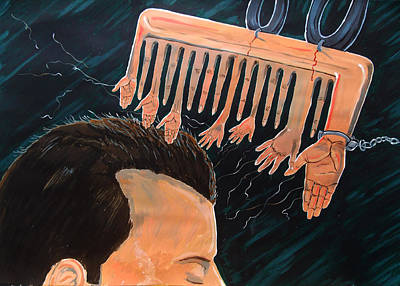 Painting - To Comb The Social Reactions by Lazaro Hurtado