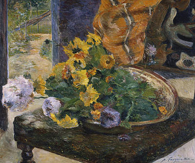 In Bloom Painting - To Make A Bouquet by Paul Gaugin