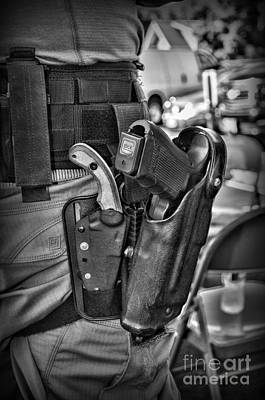To Protect And Serve In Black And White  Print by Paul Ward