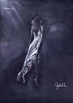 Angel Mermaids Ocean Drawing - To The Light by Falina Wu