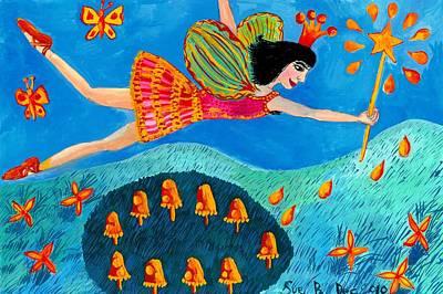 Sue Burgess Painting - Toadstool Fairy Flies Again by Sushila Burgess