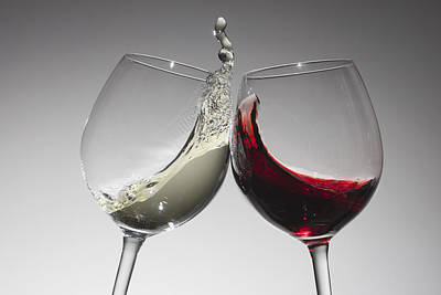 Toasting With Glasses Of Water And Red Wine Print by Dual Dual
