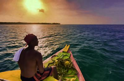 Sunset Photograph - Tobago Boy by Nadia Sanowar