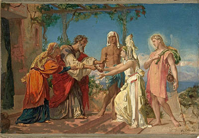 Tobias Brings His Bride Sarah To The House Of His Father Tobit Print by Henri Lehmann