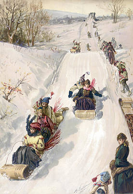 Tobogganing In The Countryside Print by Hnery Sandham