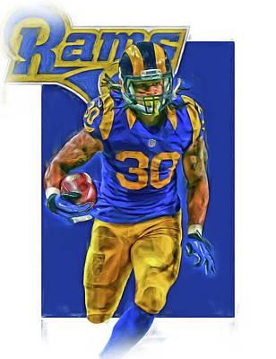 Todd Gurley Los Angeles Rams Oil Art 2 Print by Joe Hamilton