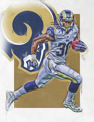 Todd Gurley Los Angeles Rams Oil Art Print by Joe Hamilton