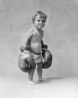 Boys Boxing Photograph - Toddler With Boxing Gloves, 1930s by H. Armstrong Roberts/ClassicStock