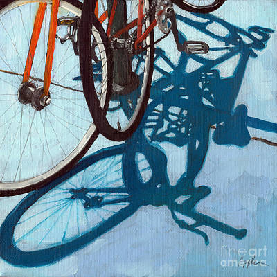 Realism Photograph - Together - City Bikes by Linda Apple