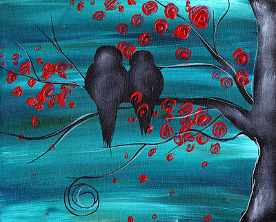 Abstract Birds Painting - Together As One by  Abril Andrade Griffith