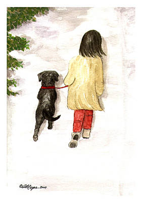 Black Lab Watercolor Painting - Together - Black Labrador And Woman Walking by Amy Reges