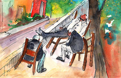 Travel Sketch Drawing - Together Old In Crete 01 by Miki De Goodaboom