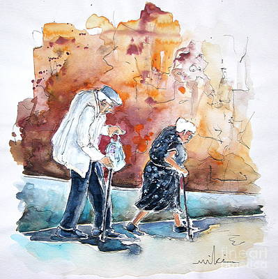Travel Sketch Drawing - Together Old In Portugal 01 by Miki De Goodaboom