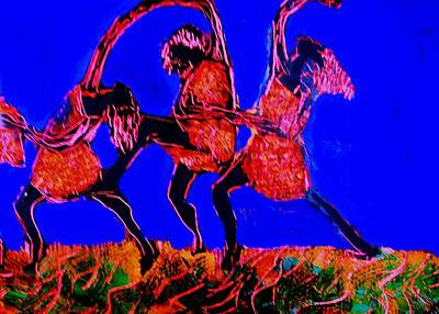 Women Together Mixed Media - Together We Dance by Samuel Banks