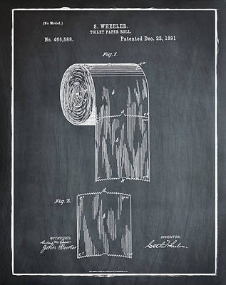 Toilet Paper Roll Patent 1891 Chalk Print by Bill Cannon