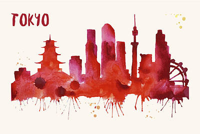 Tokyo Skyline Watercolor Poster - Cityscape Painting Artwork Print by Beautify My Walls
