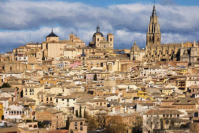 Spanish Landscape Photograph - Toledo View Painterly by Joan Carroll