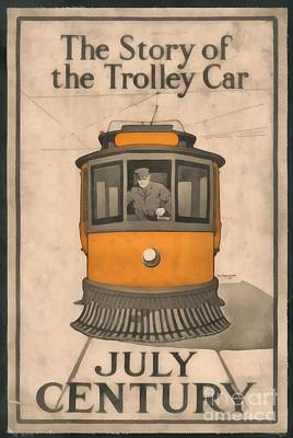 Trolley Painting - Tolley Car Vintage by Edward Fielding
