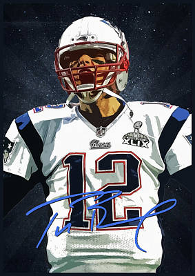 Tom Brady 3 Print by Semih Yurdabak