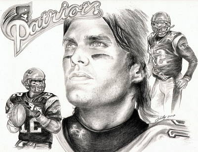 Famous People Drawing - Tom Brady by Kathleen Kelly Thompson