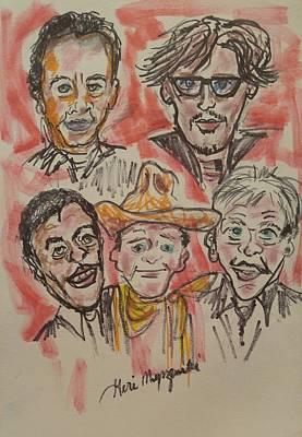 John Wayne Drawing - Tom Hanks Johnny Depp Denzel Washington John Wayne Harrison Ford by Geraldine Myszenski