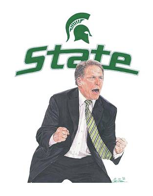 Michigan State Mixed Media - Tom Izzo by Chris Brown