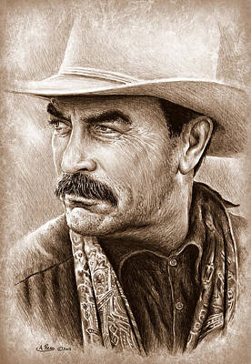 All American Drawing - Tom Selleck The Western Collection by Andrew Read