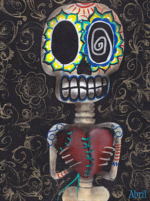 Sugar Skull Painting - Toma Mi Corazon by  Abril Andrade Griffith