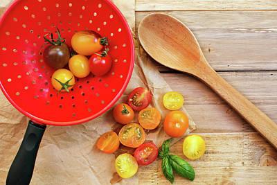 Colander Photograph - Tomato Still Life 1 by Rebecca Cozart
