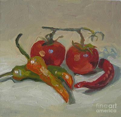 Tomatoes And Peppers Original by Eva Ryczaj Lemmo