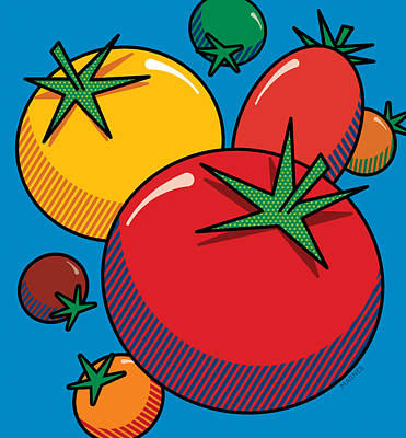 Tomatoes On Blue Print by Ron Magnes