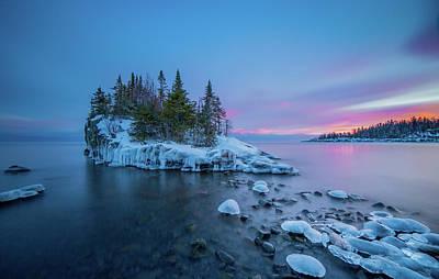 Tombolo Sunset // North Shore, Lake Superior  Print by Nicholas Parker