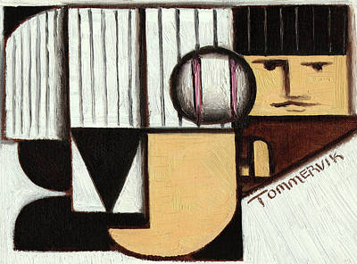 Baseball Painting - Tommervik Abstract Baseball Pitcher Art Print by Tommervik