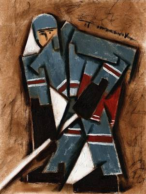 Hockey Painting - Abstract Hockey Player  Art Print by Tommervik
