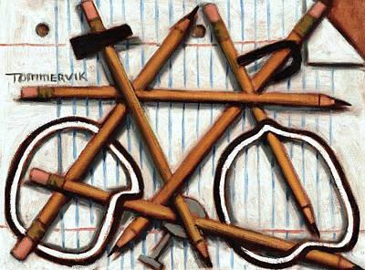 Cycles Painting - Tommervik Orange Bicycle Art Print by Tommervik