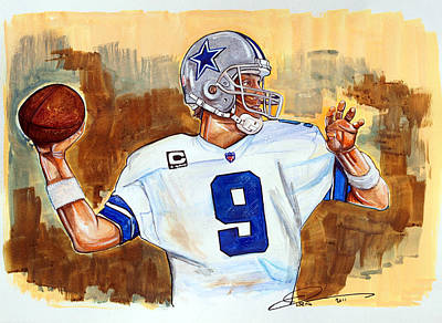 Dallas Drawing - Tony Romo by Dave Olsen