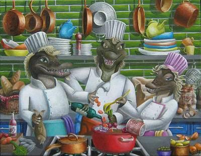 Aligator Painting - Too Many Cooks by Eva Folks