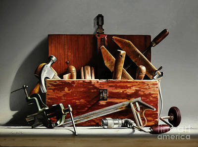 Carpenter Painting - Tool Box #2 by Larry Preston