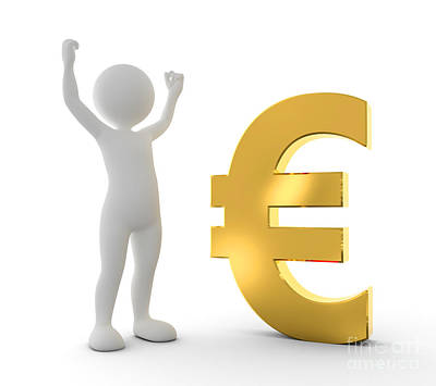 Lucky Photograph - Toon Happy Man Raising Hand For A Win Next To Gold Euro Symbol by Michal Bednarek