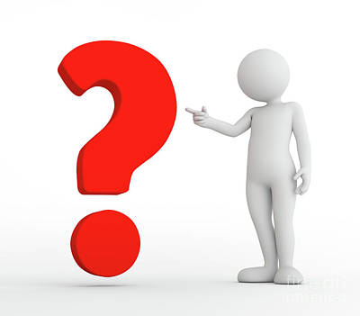 Icon Photograph - Toon Man Pointing At Red Big Question Mark. Faq, Ask, Search Concepts by Michal Bednarek