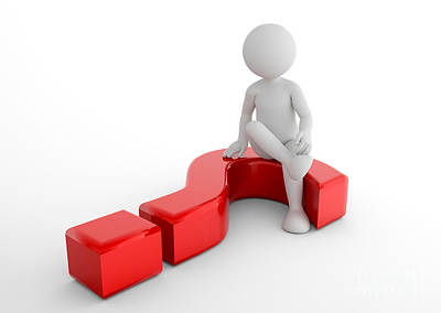 Information Photograph - Toon Man Sitting On 3d Question Mark. Faq, Ask, Search Concepts by Michal Bednarek