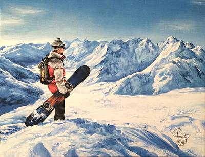 Snowboarder Painting - Top Of The World by Amberly Brill