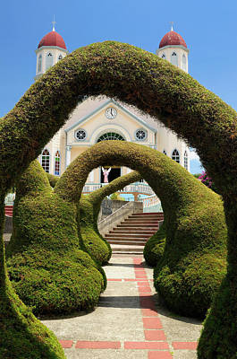 Topiary Garden Archways In Zarcero Costa Rica With Views Of The  Print by Reimar Gaertner