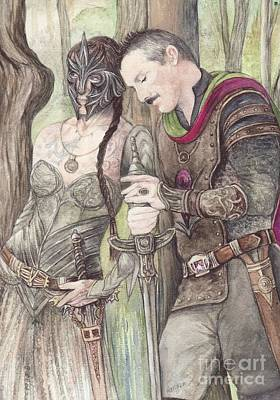 Elf Mixed Media - Torgil And Dulcamara Warrior by Morgan Fitzsimons