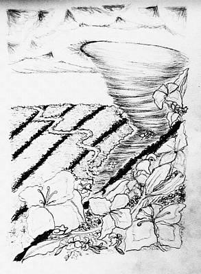 Tornado Drawing - Tornado Flower Farm by Delynn Addams