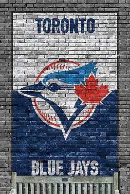 Blue Jay Painting - Toronto Blue Jays Brick Wall by Joe Hamilton