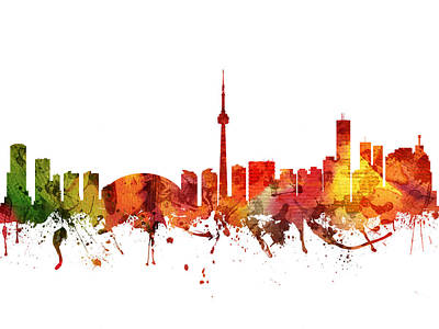 Canadian Drawing - Toronto Cityscape 04 by Aged Pixel