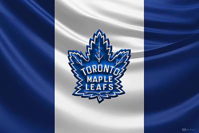 Toronto Maple Leafs - 3 D Badge Over Silk Flag Print by Serge Averbukh